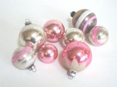 VINTAGE PINK ORNAMENTS  Shiny Brite  Mercury Glass