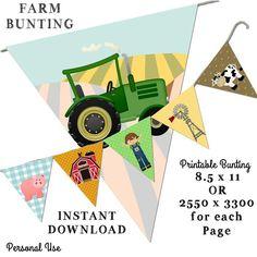 Farm Bunting, Printable Bunting, Nature Bunting, Tractor Bunting, Animal Bunting, Farm animal Buntin