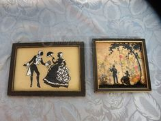 Two Vintage Reverse Silhouette Pictures by BCSimplyVintage on Etsy