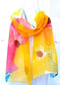 Silk Scarf Hand Painted, Spring Garden Flowers Scarf. Handmade Silk Scarf. Yellow Silk Scarf. Silk Chiffon. Silk Scarves Takuyo. 10x54 in..