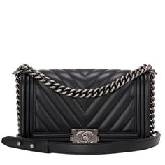 Chanel Boy Bag Black Chevron Medium #chanel