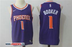 fcb6450c28d Men's Nike NBA Phoenix Suns #1 Devin Booker Jersey 2017-18 New Season Purple