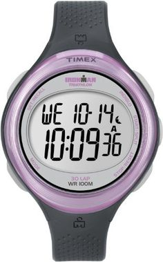 Timex Women's T5K600 Ironman Clear View 30-Lap Dark Gray/Pink Resin Strap Watch Timex. $35.04. 100-Hour Chronograph with Lap and Split Times, 99-Lap Counter. Indiglo® night-light. Water-resistant to 330 feet (100 M). 100-Hour Countdown Timer with Stop and Repeat. 30-lap memory recall for effortless review after workout