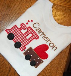 Appliqued Love Train Valentine's Day Shirt by JackNJillEmbroidery, $23.00