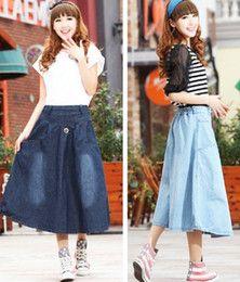 Wholesale Fashion Women Ladies Girls Casual Denim Jeans Skirts Long Sirts Spring Autumn Summer Preppy Chic Light Dark Blue