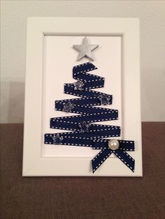Ribbon Crafts, Christmas Projects, Christmas Cards, Frame, Home Decor, Frames, Rocks, Gift, Xmas