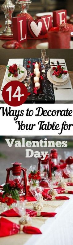 Table Setting Ideas for Valentine's Day! valentines day dinner 14 Ways to Decorate Your Table for Valentines Day – My List of Lists Valentinstag Party, Desserts Valentinstag, My Funny Valentine, Valentine Day Love, Valentine Day Crafts, Valentine Ideas, Valentine's Day Quotes, Diy Becher, Valentines Decoration