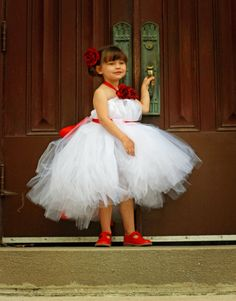 White and Red Flower Girl Tutu Dress with by CraftyGirlBowtique, $68.00