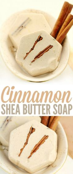 The ground cinnamon in this cinnamon shea butter soap imparts a beautiful speckled-brown natural hue while the cinnamon essential oil adds spice and a home-baked scent. This DIY soap recipe is a really great Christmas gift idea!