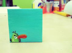 {anecdotes:} - Angry Bird mini canvas painting..
