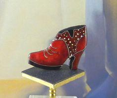 Red Boot, cloisonne enamel designer button,  OOAK by Diana Wieler.
