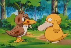 Psyduck gets smacked in the head.