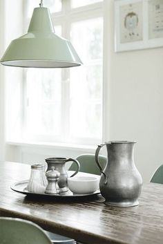 Fancy Windows : Katrine Martensen Larsen's Country Nordic seafoam home. Ideas Paso A Paso, My Kitchen Rules, Decoracion Vintage Chic, Kitchen Breakfast Nooks, Style Rustique, Country Dining Rooms, Hygge Home, Rustic Table, Home And Deco