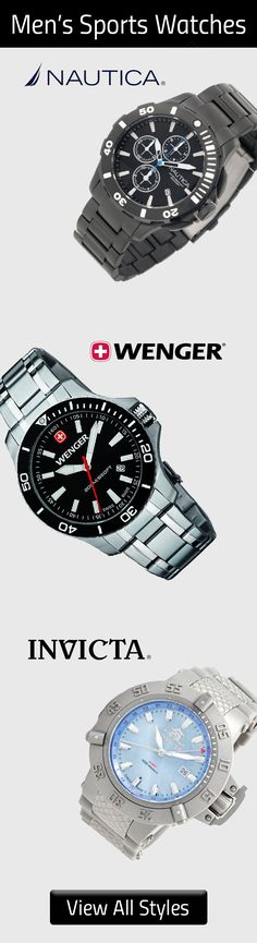 Men's Sport Watches. Take one of these watches with you on your next adventure! Choose from Nautica, Wenger, Invicta and other brands of watches that offer water resistant technology and other features to let your watch withstand the elements.