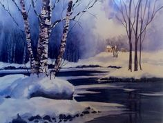 Winter Evening X Watercolour on Arches cold pressed paper Ken Crawford Watercolor Landscape, Watercolor Paintings, Watercolors, Colored Pencil Techniques, Winter Scenery, Winter Art, Aurora Borealis, Colored Pencils, Tropical