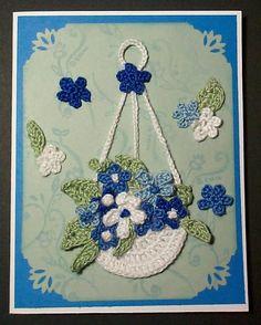 crochet flowers in basket card