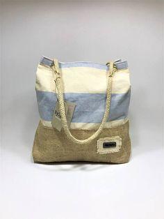 Canvas/Burlap striped shoulder bag
