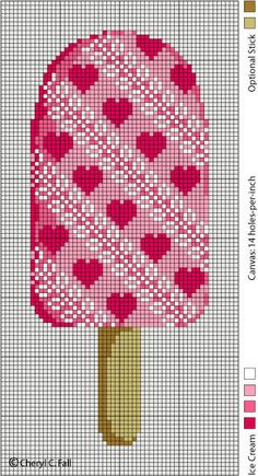 Ice Cream Popsicle with Hearts - free pattern for cross stitch or hama beads