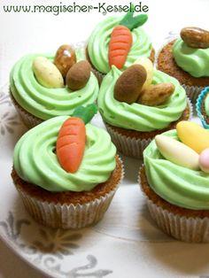 Gebackene Osternester gefällig? Die perfekte Methode, um den Osterhasen anzulocken: Rezept für Möhren-Walnuss-Cupcakes.