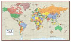 Best World Maps Images On Pinterest Maps Posters Murals And - Giant world map poster laminated