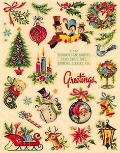 I love Vintage Christmas! Vintage transfer decals of Christmas images Noel Christmas, Christmas Greetings, Winter Christmas, Christmas Crafts, Christmas Decals, Christmas Stuff, Retro Christmas Decorations, Vintage Decorations, 1950s Christmas