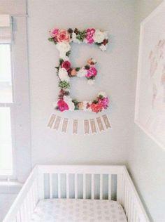 Decoración: Flores de papel para habitación de niña - Letra con flores