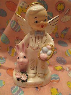 Vintage Napco Boy April Birthday Angel #A1920  Figurine Easter Bunny Rabbit 1956