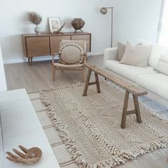 mexican wool rug // – L E H A R V E S T Mexican Chairs, Mexican Rug, Futon Chair, Wool Rug, Shag Rug, Loom, Dining Bench, Home Goods, Sweet Home