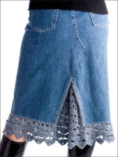 guess I would need to learn how to crochet! Crochet inset to old denim blue jeans! I guess you could use some thick lace, or an old crochet tablecloth dyed that denim blue colour? Diy Clothing, Sewing Clothes, Crochet Clothes, Moda Crochet, Knit Crochet, Crochet Trim, Irish Crochet, Crochet Edgings, Diy Fashion