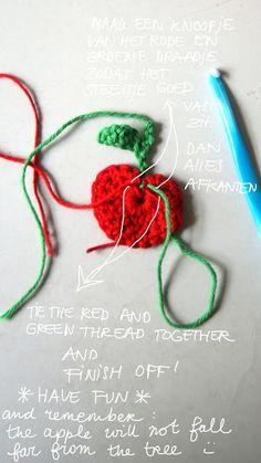 Rode appeltjes (of geel, groen ......) met fotobeschrijving.