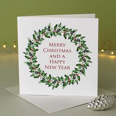 Are you interested in our Botanical Christmas Wreath Card? With our Card with Holly and Ivy you need look no further.