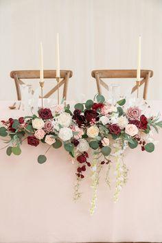 Burgundy And Blush Wedding, Blush Wedding Flowers, Wedding Flower Backdrop, Wedding Top Table Flowers, Wedding Greenery, Diy Wedding Bouquet, Burgundy Flowers, Large Flower Arrangements, Wedding Floral Arrangements