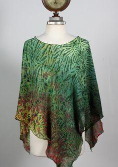 Shibori Silk Chiffon Poncho by MichaelSmithShibori on Etsy, $145.00