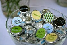 Boy Baby Shower in Brown, Green, Yellow and Blue- personalized Hershey kiss labels- print your own on Etsy, $8.00