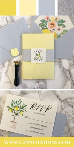 LIGHT BLUE is the perfect color for 2020 weddings! This blue and yellow color combination is classy AF. Love the yellow lemon accents, which will make your wedding stand out against all the others. These lemons were hand painted, and are cute as can be! This pocket wedding invitation is sure to impress your wedding guests. #weddinginvitations #wedding #yellow #lightblue   Light blue and Yellow wedding invitations, lemon invitations, lemon design, 2020 wedding colors, lemon wedding