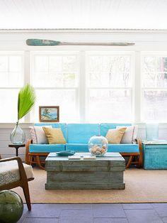 House of Turquoise: Modern Beach House House Of Turquoise, Turquoise Couch, Teal Sofa, Coastal Living, Coastal Decor, Coastal Style, Modern Coastal, Cottage Living, Coastal Curtains