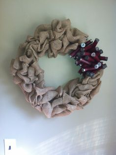Burlap Wreath with Dark Red Shotgun Shell Wreath by TheNethouse