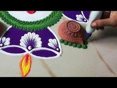 Simple Navratri rangoli design using diya Easy Rangoli Designs Diwali, Rangoli Simple, Rangoli Designs Latest, Simple Rangoli Designs Images, Rangoli Designs Flower, Free Hand Rangoli Design, Rangoli Border Designs, Small Rangoli Design, Rangoli Patterns