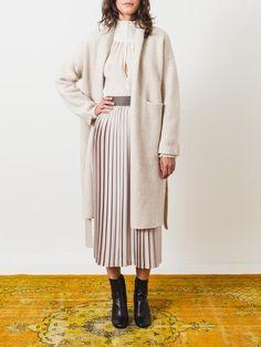 Lauren-manoogian-light-grey-simple-cardigan-on-body
