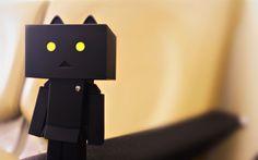 Download wallpapers Black Danbo, 4k, cardboard robot, creative, Danbo