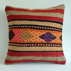 %30 SALEOrganic Modern Bohemian Throw Pillow. Handwoven Wool Vintage Tribal Turkish Kilim Pillow Cover by sukan, $89.95