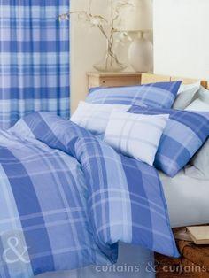 Next Modern Blue Checked Bedding