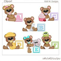 DIGITAL SCRAPBOOKING CLIPART  Alphabet Baby Bears by BoxerScraps