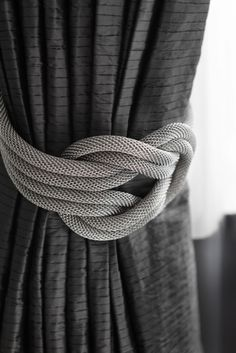 Mesh nautical knot drapery tiebacks. Grays. RICHMOND PRIVATE RESIDENCE.