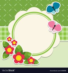 Round frame with flowers and butterfly vector image on VectorStock Boarder Designs, Page Borders Design, Doodle Frames, Scrapbook Frames, School Frame, Framed Wallpaper, Quilt Labels, Borders And Frames, Round Frame