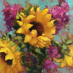 "Daily Paintworks - ""Sunflower Dance"" - Original Fine Art for Sale - © Krista Eaton"