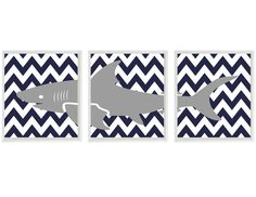 Shark Art Print Set - Nursery Baby Boy Room Navy Blue Gray White Chevron -  Beach House Wall Art Home Decor Set 3 8x10