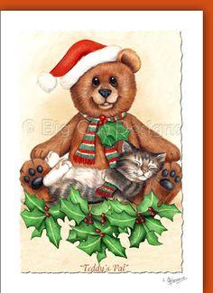 TEDDYS PAL - sleepy cat with teddy bear-  set of 3 notecards