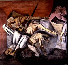 """The Trench"" Jose Clemente Orozco was a Mexican painter, who specialized in political murals. He made most of his art about the Mexican Revolution. Time Painting, Mural Painting, Oil Painting Abstract, Oil Paintings, Diego Rivera, Murals Street Art, Clemente Orozco, Sketch Manga, Surrealism Painting"