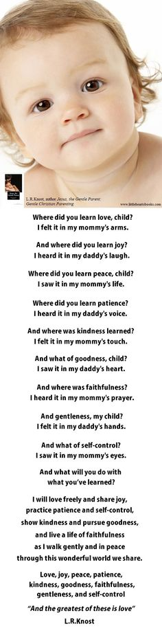 """Where did you learn"" poem from Jesus, the Gentle Parent: Gentle Christian Parenting' by L.R.Knost"